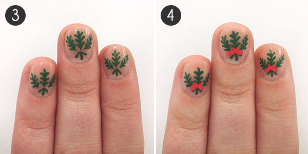 Deck the halls with these candy cane mistletoe christmas nails mistletoe nails steps 3 4 prinsesfo Choice Image