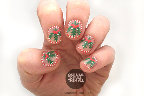 Deck the halls with these candy cane mistletoe christmas nails mistletoe nails prinsesfo Image collections