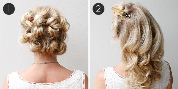DIY Wedding Hair Steps 1 2