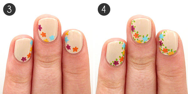Easy floral nail art to try this summer more floral nails steps 3 4 prinsesfo Images