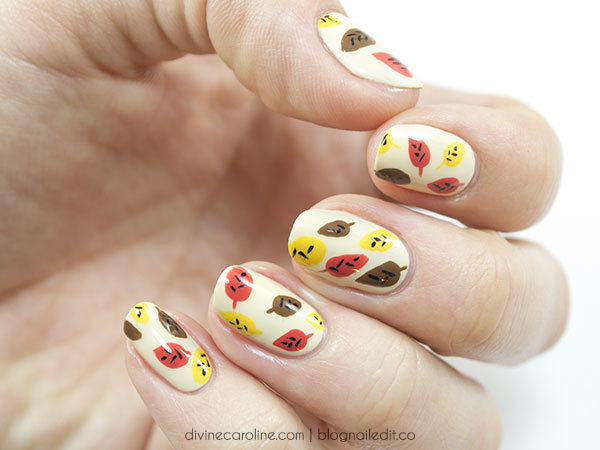 Adorable Abstract Leaf Design - Fabulous Fall Nails: Adorable Abstract Leaf Design More.com