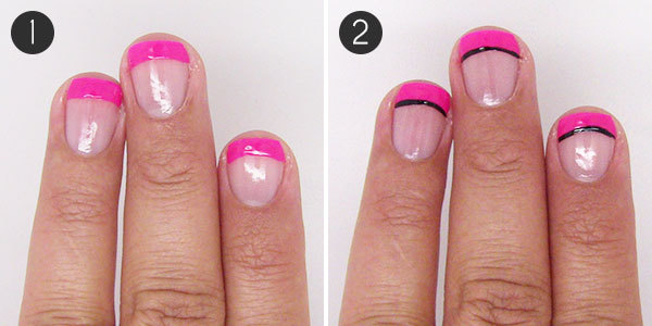 Fancy french tip bow nail art more steps 1 and 2 prinsesfo Choice Image