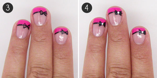 Fancy french tip bow nail art more take that same black striper and make an x on one side of your nail then connect the edges to create the outline of the bow fill in the outline of the prinsesfo Choice Image
