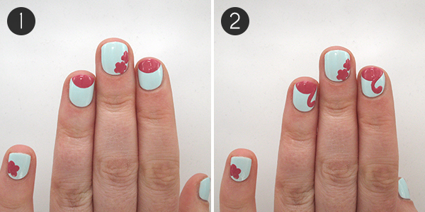 This flamingo and floral nail art is the perfect poolside mani you will need nail art brush dotting tool light blue nail polish i used barry m huckleberry two shades of pink i used nail girls pink 15 prinsesfo Choice Image