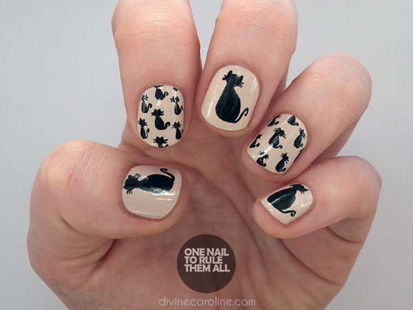 Halloween nail art tutorial black cat pattern more halloween black cat nails prinsesfo Images