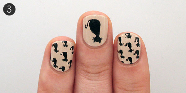 Halloween nail art tutorial black cat pattern more halloween black cat nails step 3 prinsesfo Images
