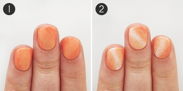 Pumpkin Nails Steps 1-2 - A Glittery Pumpkin-Inspired Nail Design For Halloween Or All Fall