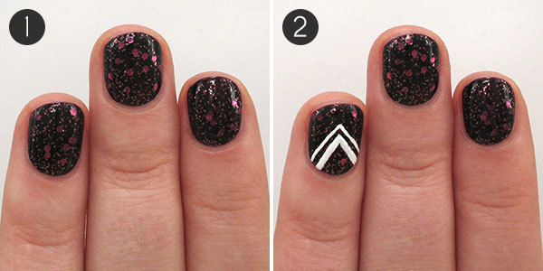 An oh so glamorous nail design to celebrate the new year more nye nails steps 1 2 prinsesfo Image collections
