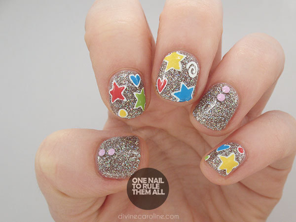 Playful patterned glitter nail design more patterned glitter nails prinsesfo Choice Image