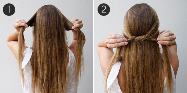 Knotted Half Updo Steps 1 2