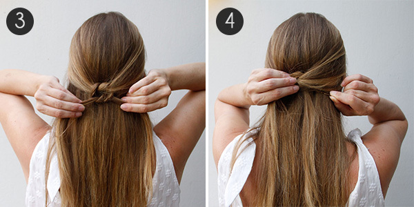 Knotted Half Updo Steps 3 4