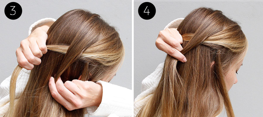 Waterfall and Flower Braid Half Updo Steps 3 & 4