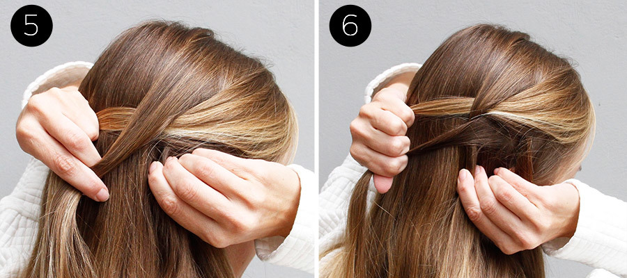 Waterfall and Flower Braid Half Updo Steps 5 & 6