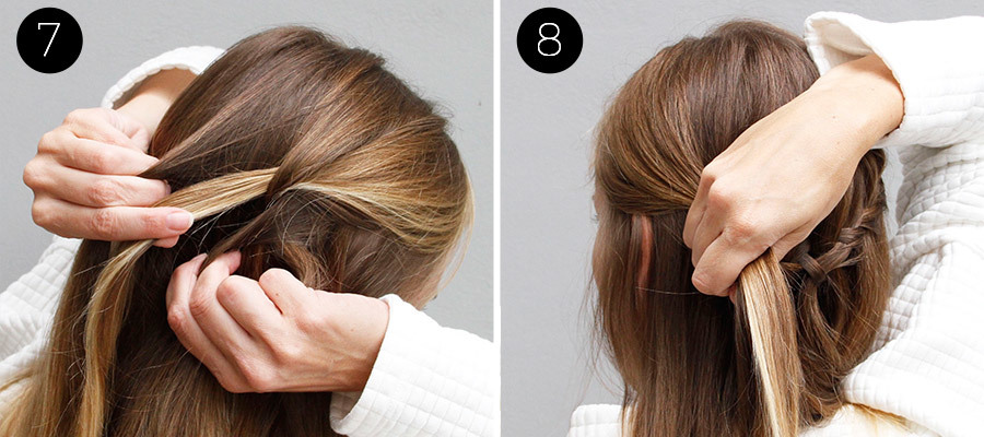 Waterfall and Flower Braid Half Updo Steps 7 & 8