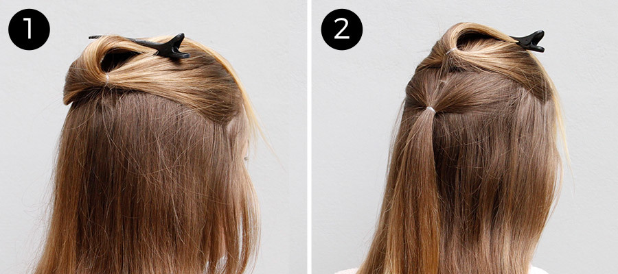 Half-Up Pull Through Braid Steps 1 & 2