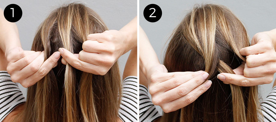 Dutch Braid Bun Steps 1 & 2