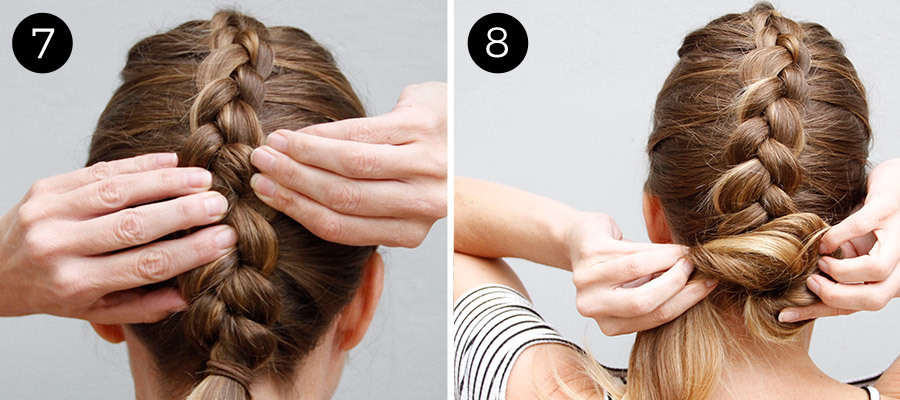 Dutch Braid Bun Steps 7 & 8