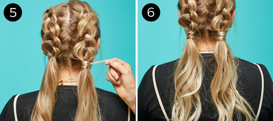 Braided Pigtails Steps 5 & 6