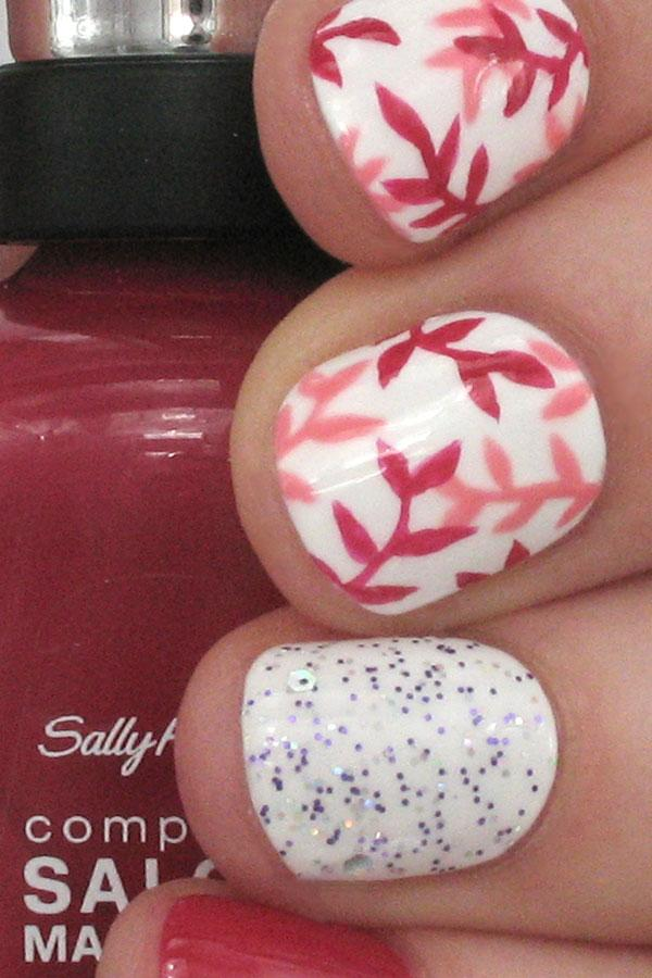 Spring nail designs with glitter : Pink floral and glitter nail art for spring more