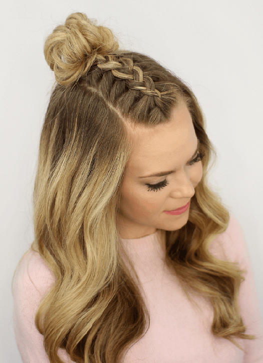 Mohawk Braid Top Knot A Curly Prom Hairstyle