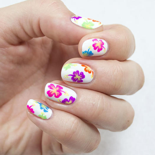 Tropical Hawaiian Nail Art - 22 Cute And Easy Nail Designs For Any Occasion More.com