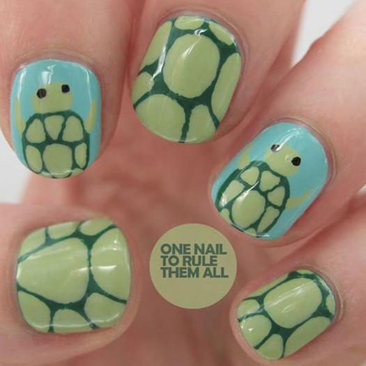 Cute Turtles. When it comes to creating animal nail art ... - 27 Of The Best Nail Art Designs For Any Animal Lover More.com