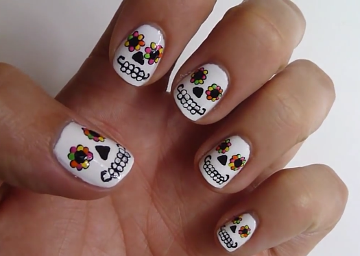 Better than basic white nail designs more day of the dead sugar skulls prinsesfo Gallery