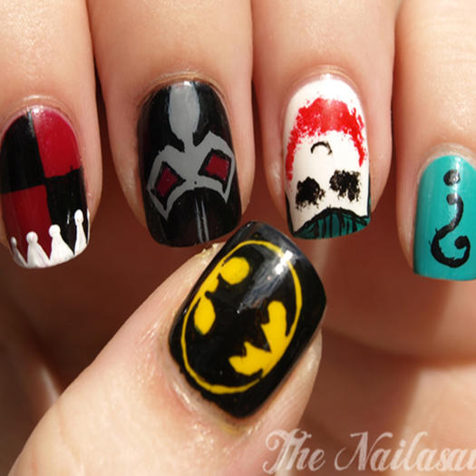 27 powerful nail designs for any comic nerd more gothams characters prinsesfo Image collections