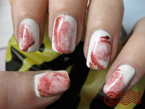 Easy halloween nail designs for beginners more crime scene nails prinsesfo Gallery