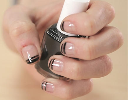 French manicure nail designs beyond boring white tips more double black french manicure prinsesfo Images