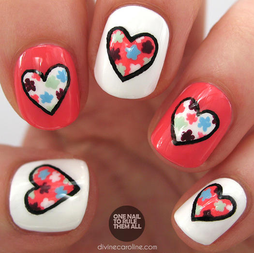 Floral Heart Nail Art - 17 Valentine's Day Nail Art Designs We Love More.com