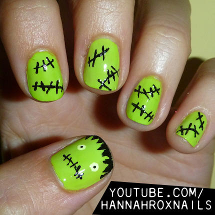 Pinterests best halloween nail designs more frankenstein nails prinsesfo Gallery