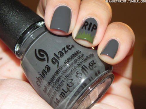Easy halloween nail designs for beginners more gravestone nails prinsesfo Images