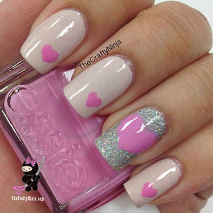 17 valentines day nail art designs we love more pretty pink heart nail art prinsesfo Choice Image