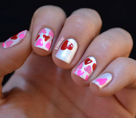 17 valentines day nail art designs we love more metallic hearts nail design prinsesfo Choice Image