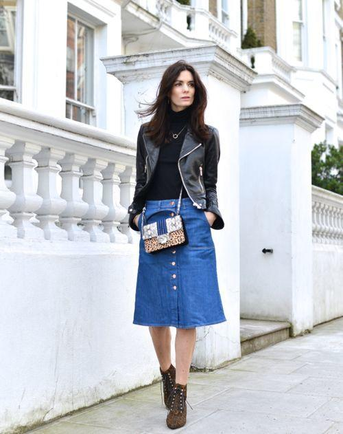 With Leather - 16 Fresh Ways To Wear A Denim Skirt More.com