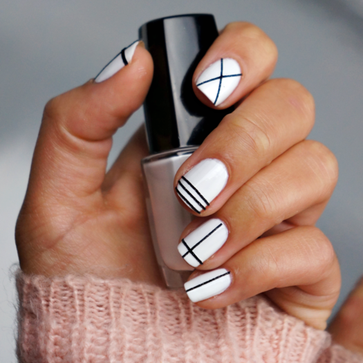 Stripes with Nail Art Tape - Better-Than-Basic White Nail Designs More.com