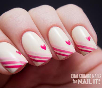 17 valentines day nail art designs we love more ombre striped heart nail design prinsesfo Choice Image