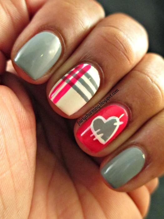 28 valentines day nails wed love to wear all february more patchwork heart nail art prinsesfo Image collections