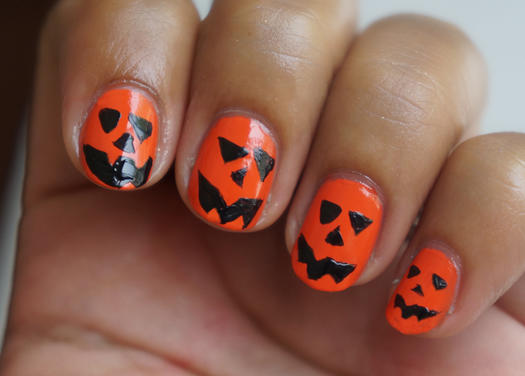 Jack O' Lantern Nails - Easy Halloween Nail Designs For Beginners More.com