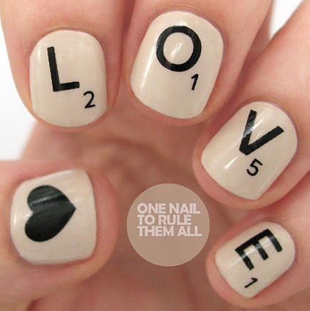 Scrabble Tile Nail Art - 17 Valentine's Day Nail Art Designs We Love More.com