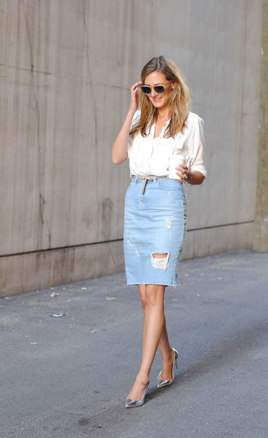 Share · Pin It · See Jane. Most denim skirt outfits ... - 16 Fresh Ways To Wear A Denim Skirt More.com