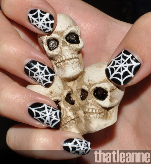 Easy halloween nail designs for beginners more spiderweb nails prinsesfo Gallery