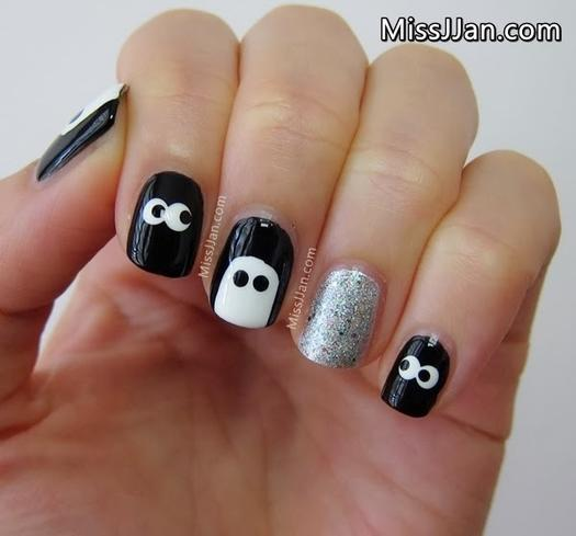Easy halloween nail designs for beginners more spooky eye nails prinsesfo Gallery