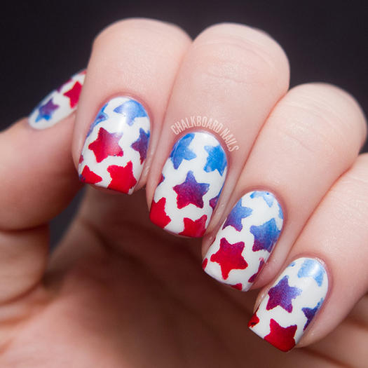15 patriotic 4th of july nails more stenciled star nail art prinsesfo Image collections