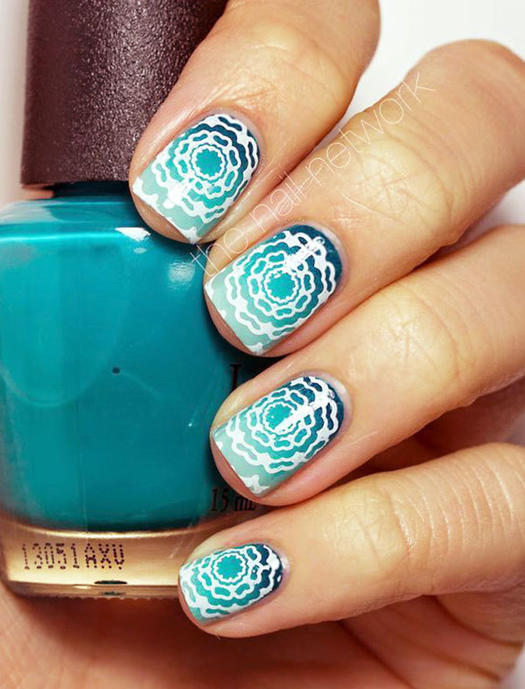 Sizzlin summer nails 15 nail art designs were loving more teal floral gradient stamping nail art prinsesfo Gallery