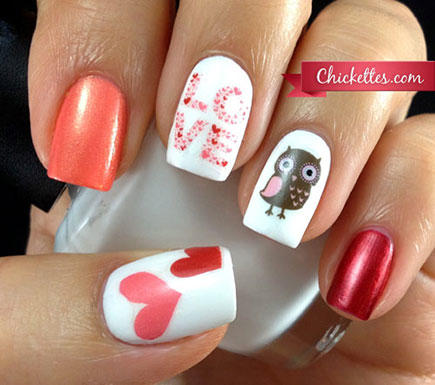 Valentine's Nail Art Using Water Decals - 17 Valentine's Day Nail Art Designs We Love More.com