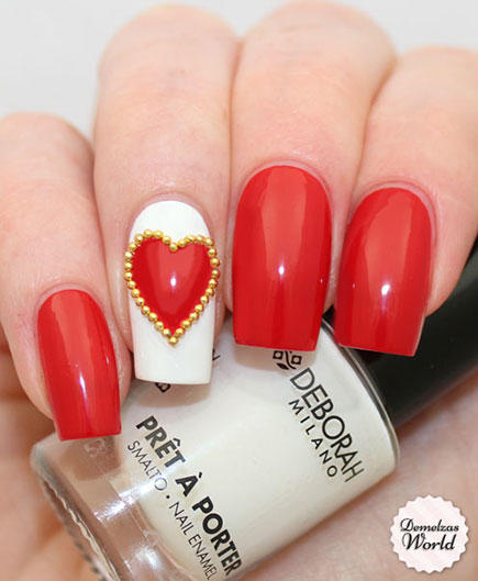 Studded Heart Nail Design - 17 Valentine's Day Nail Art Designs We Love More.com