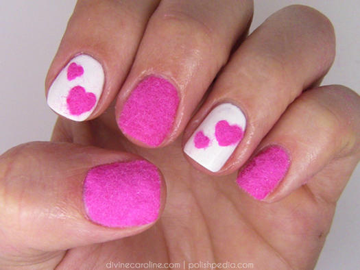 17 valentines day nail art designs we love more velvety heart nail art prinsesfo Gallery