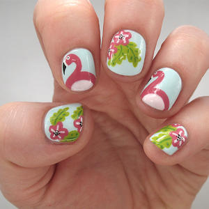 This Flamingo and Floral Nail Art is the Perfect Poolside Mani